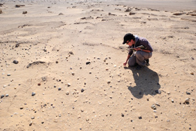 Prospection sur le site de Gaga, oasis de Kharga, Égypte